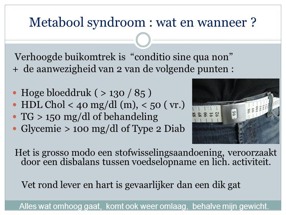 Metabool syndroom : wat en wanneer .