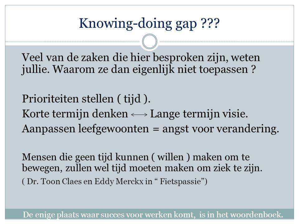Knowing-doing gap ??.Veel van de zaken die hier besproken zijn, weten jullie.