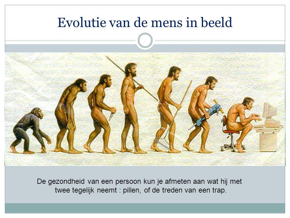 Evolutie van de mens in beeld De gezondheid van een persoon kun je afmeten aan wat hij met twee tegelijk neemt : pillen, of de treden van een trap.