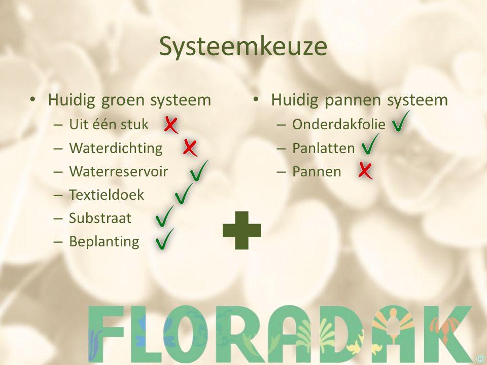 Systeemkeuze Huidig groen systeem – Uit één stuk – Waterdichting – Waterreservoir – Textieldoek – Substraat – Beplanting Huidig pannen systeem – Onderdakfolie – Panlatten – Pannen