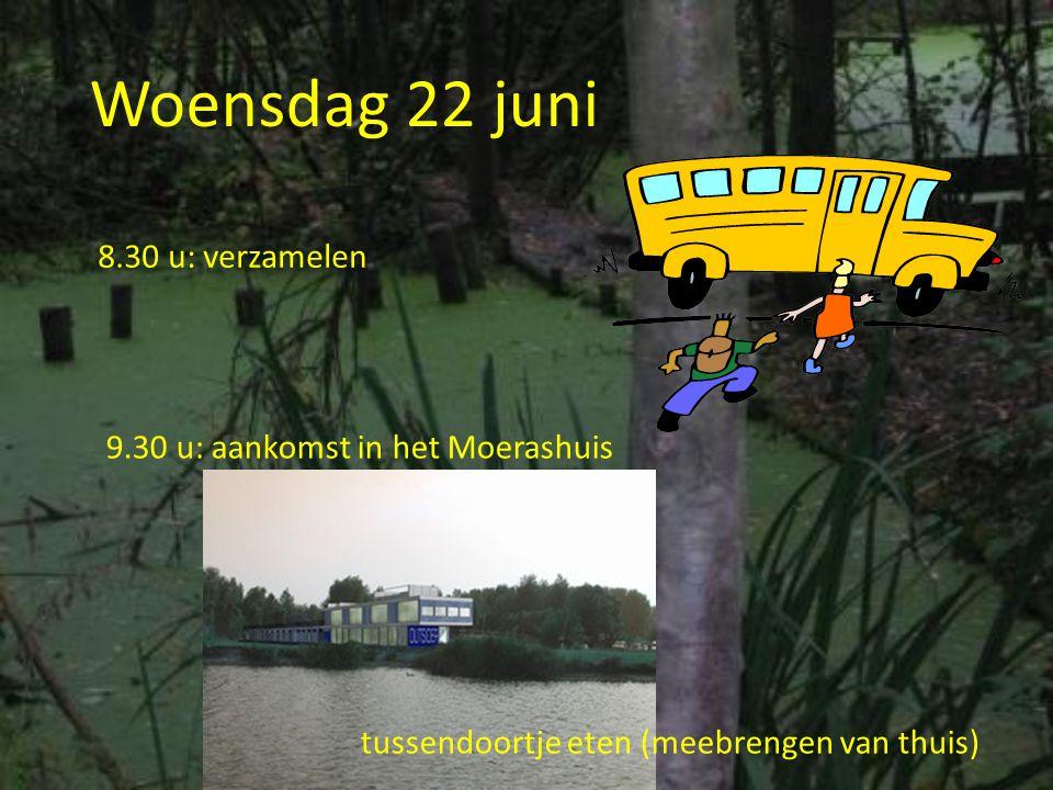Woensdag 22 juni 8.30 u: verzamelen 9.30 u: aankomst in het Moerashuis tussendoortje eten (meebrengen van thuis)