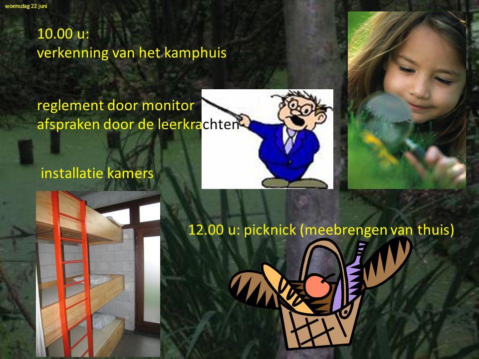 woensdag 22 juni 10.00 u: verkenning van het kamphuis reglement door monitor afspraken door de leerkrachten installatie kamers 12.00 u: picknick (meeb