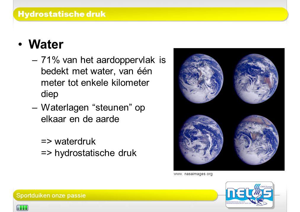 Sportduiken onze passie Hydrostatische druk Water –71% van het aardoppervlak is bedekt met water, van één meter tot enkele kilometer diep –Waterlagen steunen op elkaar en de aarde => waterdruk => hydrostatische druk www.