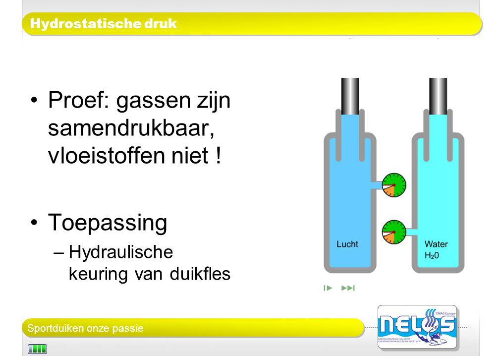 Sportduiken onze passie Hydrostatische druk Proef: gassen zijn samendrukbaar, vloeistoffen niet .