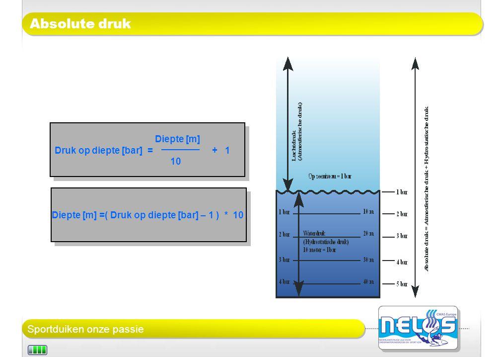 Sportduiken onze passie Absolute druk Diepte [m] Druk op diepte [bar] = + 1 10 Diepte [m] Druk op diepte [bar] = + 1 10 Diepte [m] =( Druk op diepte [bar] – 1 ) * 10
