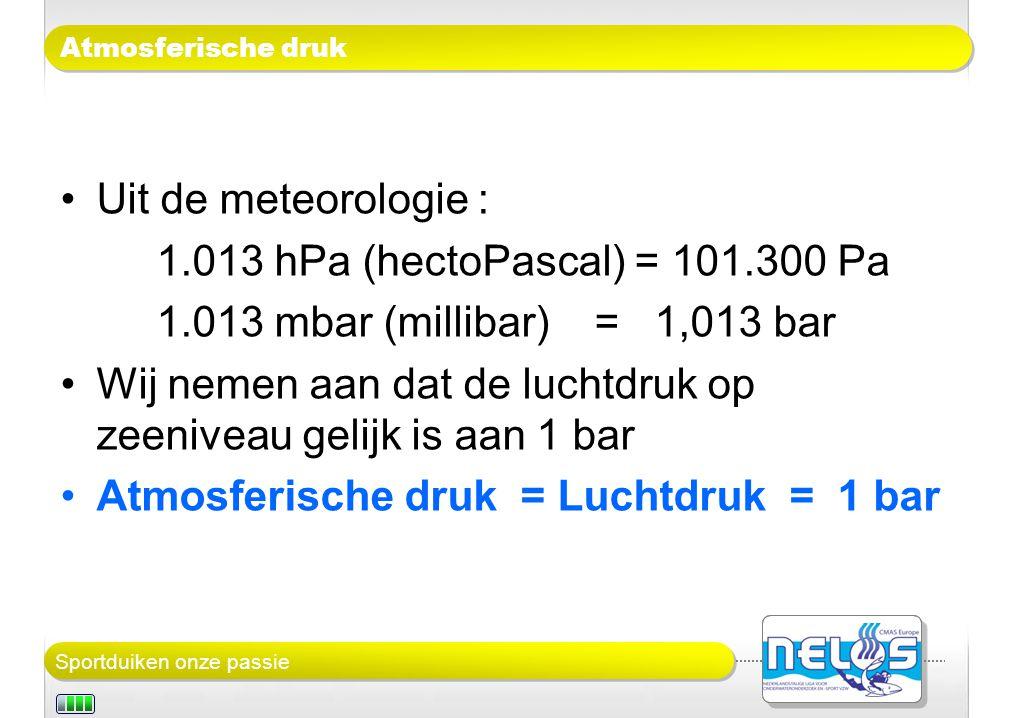 Sportduiken onze passie Atmosferische druk Uit de meteorologie : 1.013 hPa (hectoPascal) = 101.300 Pa 1.013 mbar (millibar) = 1,013 bar Wij nemen aan dat de luchtdruk op zeeniveau gelijk is aan 1 bar Atmosferische druk = Luchtdruk = 1 bar