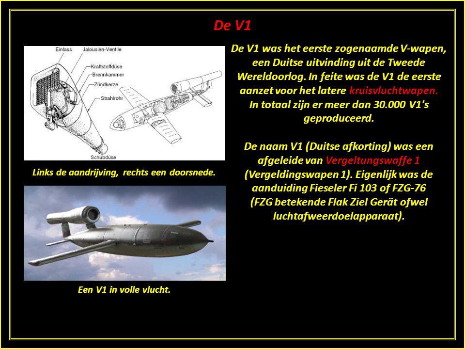 De V1 De V1 was het eerste zogenaamde V-wapen, een Duitse uitvinding uit de Tweede Wereldoorlog.
