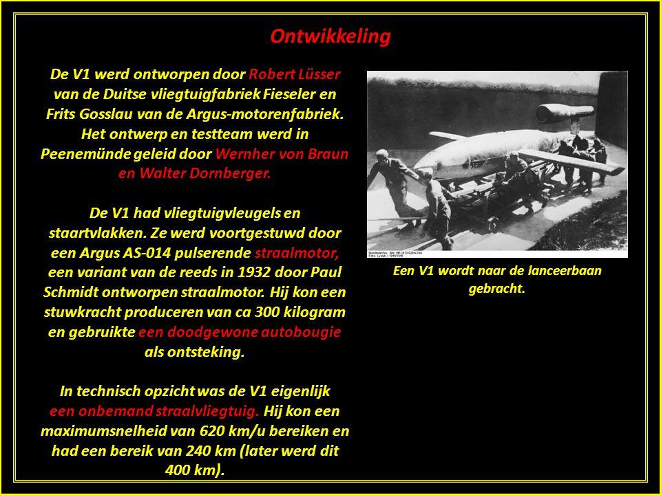 De V1 De V1 was het eerste zogenaamde V-wapen, een Duitse uitvinding uit de Tweede Wereldoorlog. In feite was de V1 de eerste aanzet voor het latere k