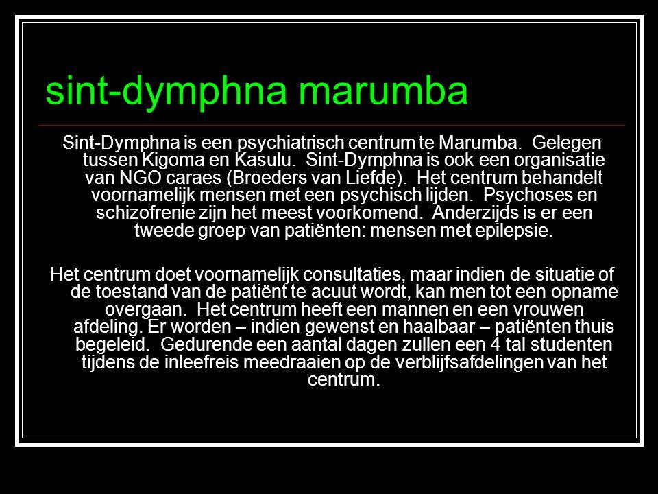 sint-dymphna marumba Sint-Dymphna is een psychiatrisch centrum te Marumba. Gelegen tussen Kigoma en Kasulu. Sint-Dymphna is ook een organisatie van NG