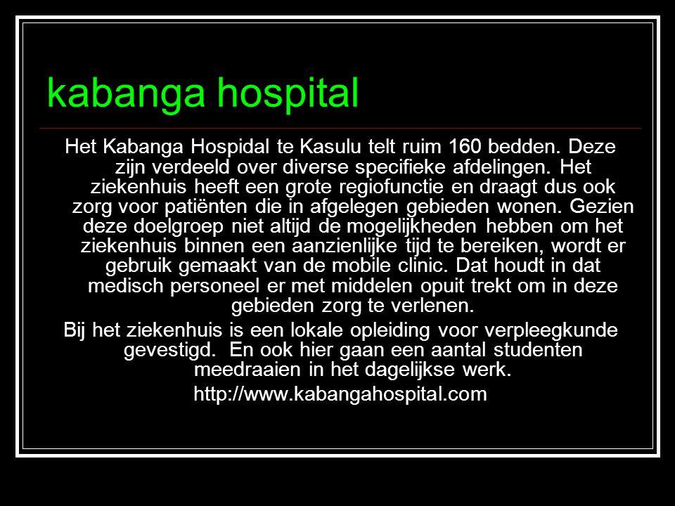 kabanga hospital Het Kabanga Hospidal te Kasulu telt ruim 160 bedden. Deze zijn verdeeld over diverse specifieke afdelingen. Het ziekenhuis heeft een