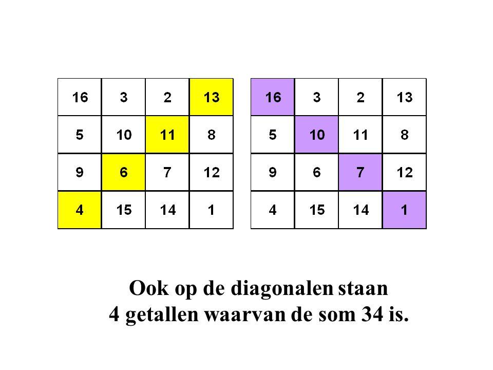Ook op de diagonalen staan 4 getallen waarvan de som 34 is.
