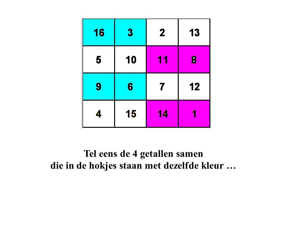 Tel eens de 4 getallen samen die in de hokjes staan met dezelfde kleur …
