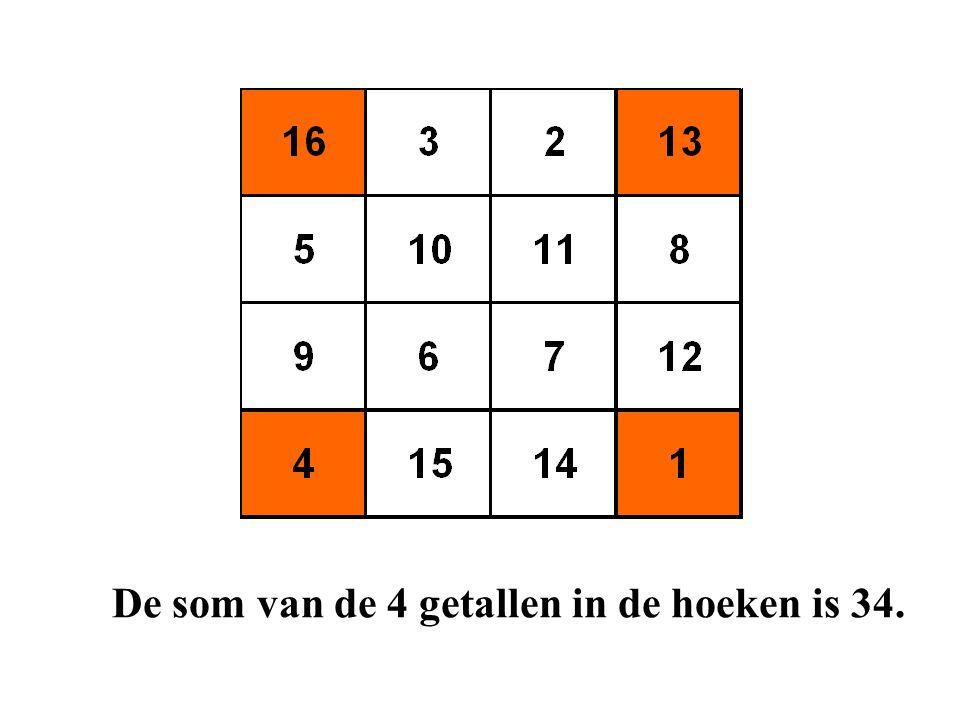 De som van de 4 getallen in de hoeken is 34.
