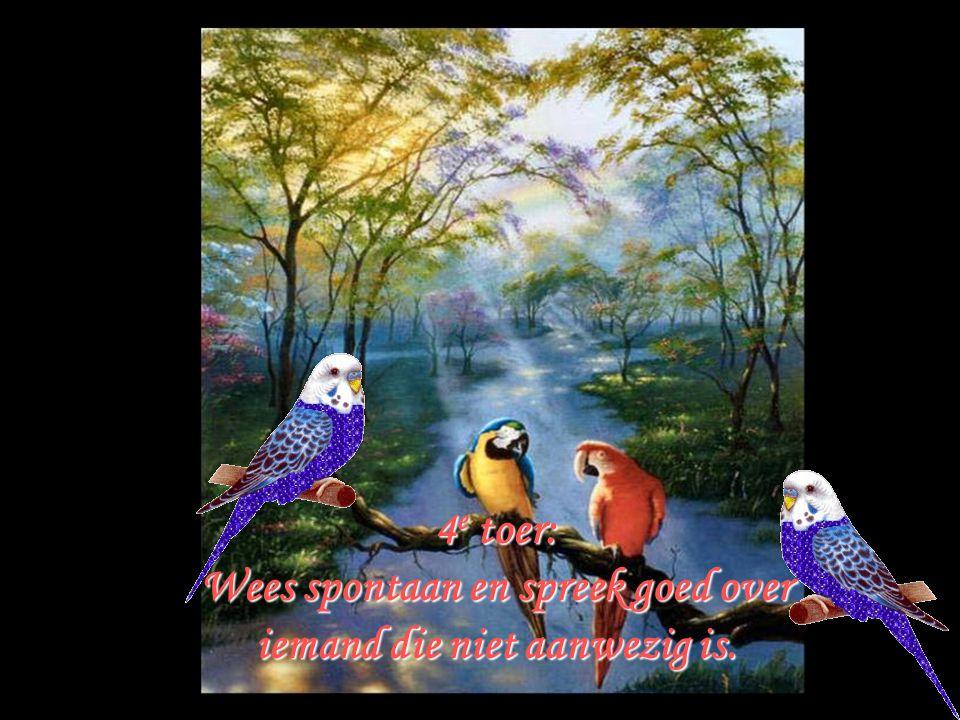 . 4 e toer: Wees spontaan en spreek goed over iemand die niet aanwezig is.