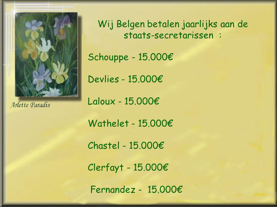 Wij Belgen betalen jaarlijks aan de staats-secretarissen : Schouppe - 15.000€ Devlies - 15.000€ Laloux - 15.000€ Wathelet - 15.000€ Chastel - 15.000€ Clerfayt - 15.000€ Fernandez - 15.000€