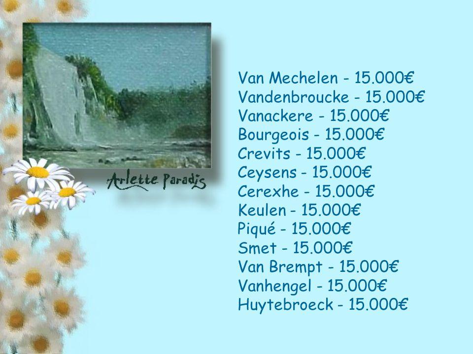 Van Mechelen - 15.000€ Vandenbroucke - 15.000€ Vanackere - 15.000€ Bourgeois - 15.000€ Crevits - 15.000€ Ceysens - 15.000€ Cerexhe - 15.000€ Keulen - 15.000€ Piqué - 15.000€ Smet - 15.000€ Van Brempt - 15.000€ Vanhengel - 15.000€ Huytebroeck - 15.000€