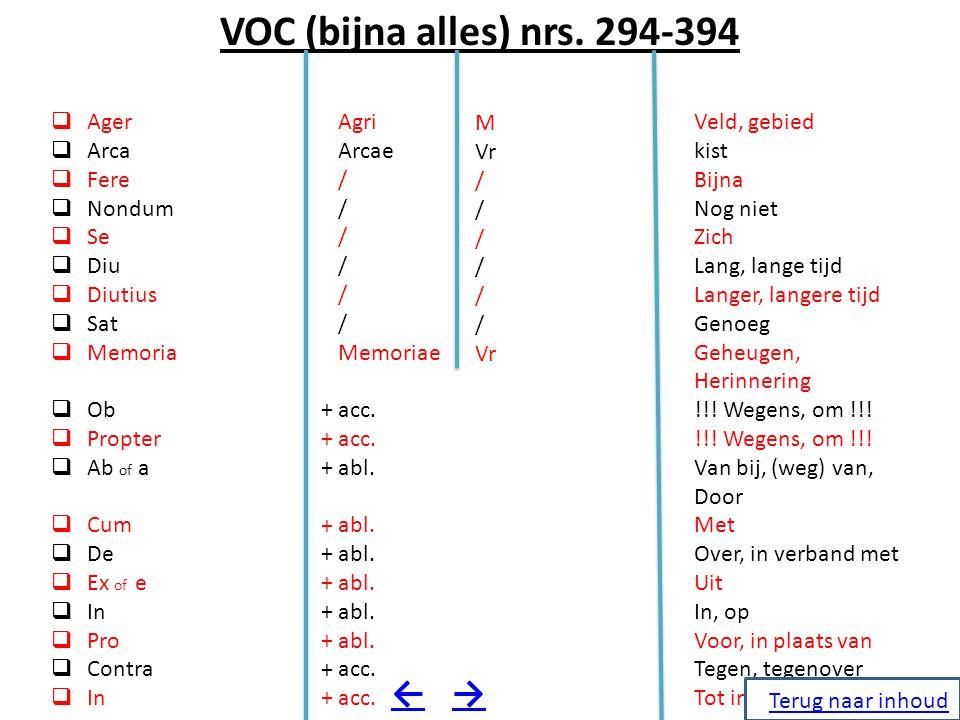 VOC (bijna alles) nrs. 294-394  Ager  Arca  Fere  Nondum  Se  Diu  Diutius  Sat  Memoria  Ob  Propter  Ab of a  Cum  De  Ex of e  In 