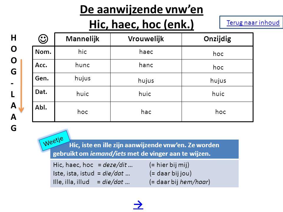 De aanwijzende vnw'en Hic, haec, hoc (enk.) → Nom. Acc. Gen. Dat. Abl. MannelijkVrouwelijkOnzijdig hic hunc hujus huic hoc HOOG-LAAGHOOG-LAAG haec han