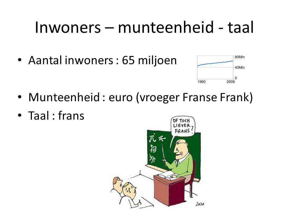 Inwoners – munteenheid - taal Aantal inwoners : 65 miljoen Munteenheid : euro (vroeger Franse Frank) Taal : frans