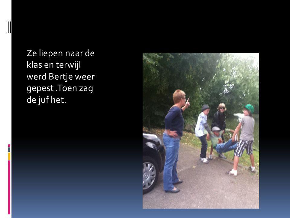 Ze liepen naar de klas en terwijl werd Bertje weer gepest.Toen zag de juf het.