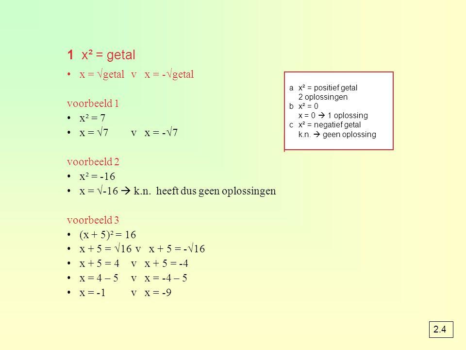 1 x² = getal x = √getalv x = -√getal voorbeeld 1 x² = 7 x = √7v x = -√7 voorbeeld 2 x² = -16 x = √-16  k.n. heeft dus geen oplossingen voorbeeld 3 (x