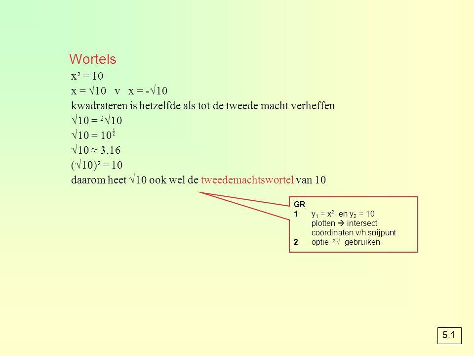 Wortels x² = 10 x = √10 v x = -√10 kwadrateren is hetzelfde als tot de tweede macht verheffen √10 = 2 √10 √10 = 10  √10 ≈ 3,16 (√10)² = 10 daarom hee
