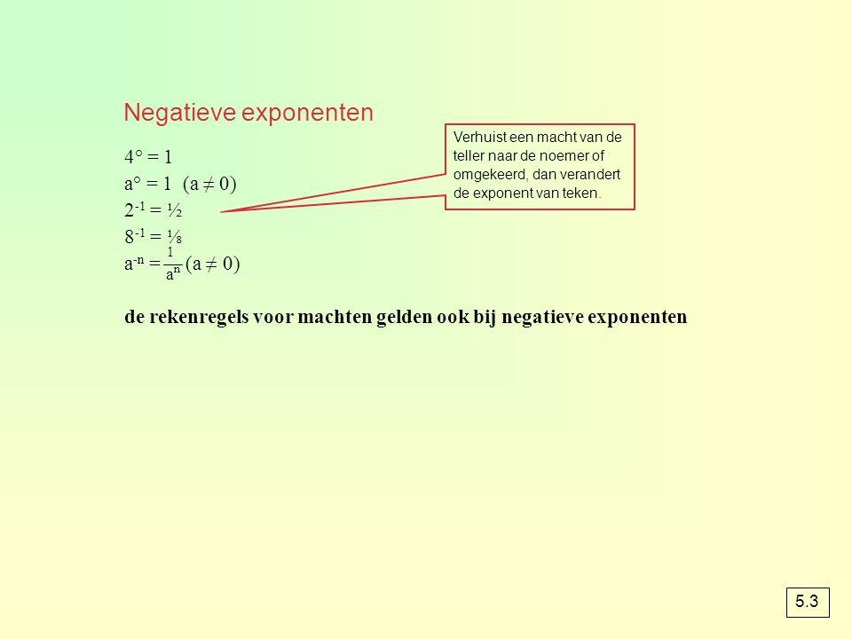 4° = 1 a° = 1 (a ≠ 0) 2 -1 = ½ 8 -1 = ⅛ a -n = (a ≠ 0) de rekenregels voor machten gelden ook bij negatieve exponenten Verhuist een macht van de telle
