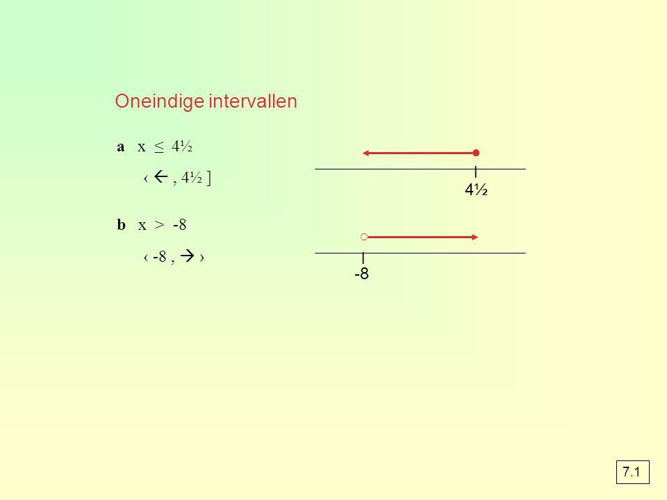 4½4½ l ○ ● a x ≤ 4½ ‹ , 4½ ] b x > -8 ‹ -8,  › -8 l Oneindige intervallen 7.1