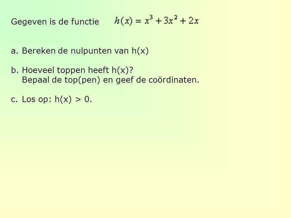 Gegeven is de functie a.Bereken de nulpunten van h(x) b.Hoeveel toppen heeft h(x)? Bepaal de top(pen) en geef de coördinaten. c.Los op: h(x) > 0.