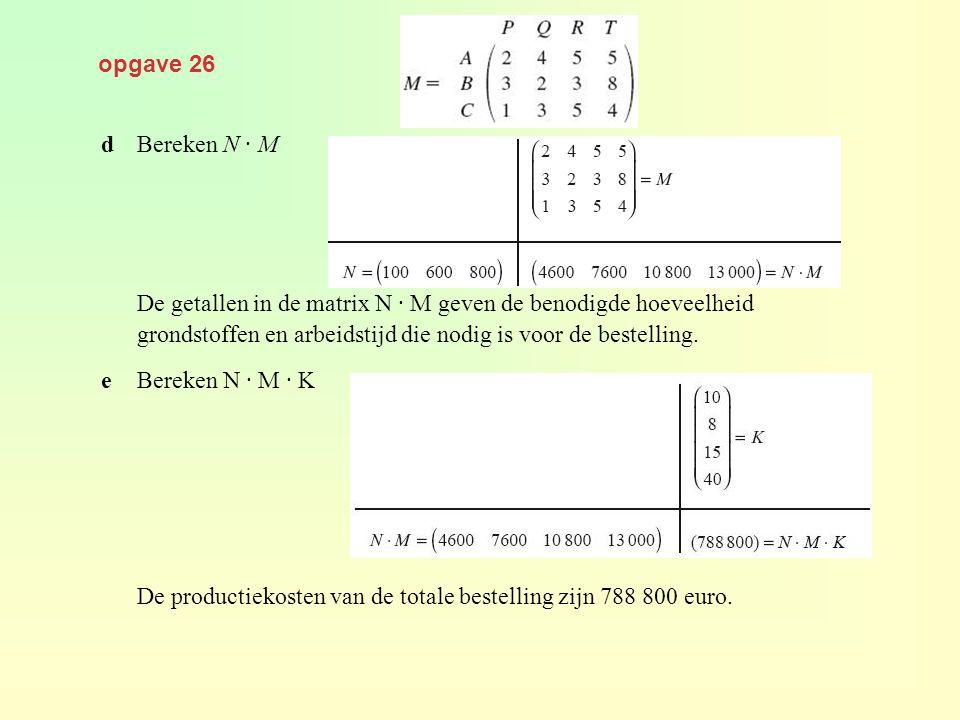 opgave 26 dBereken N · M De getallen in de matrix N · M geven de benodigde hoeveelheid grondstoffen en arbeidstijd die nodig is voor de bestelling. eB