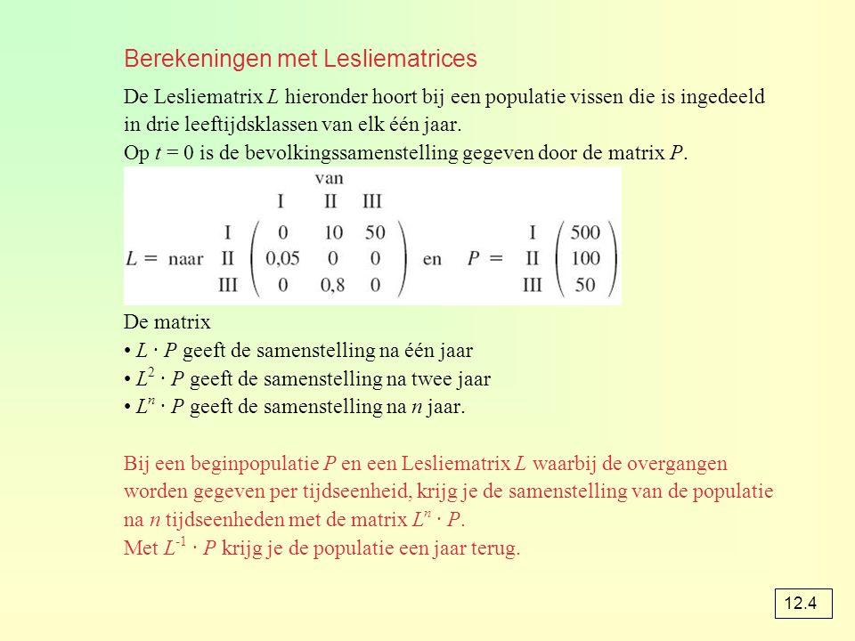 Berekeningen met Lesliematrices De Lesliematrix L hieronder hoort bij een populatie vissen die is ingedeeld in drie leeftijdsklassen van elk één jaar.