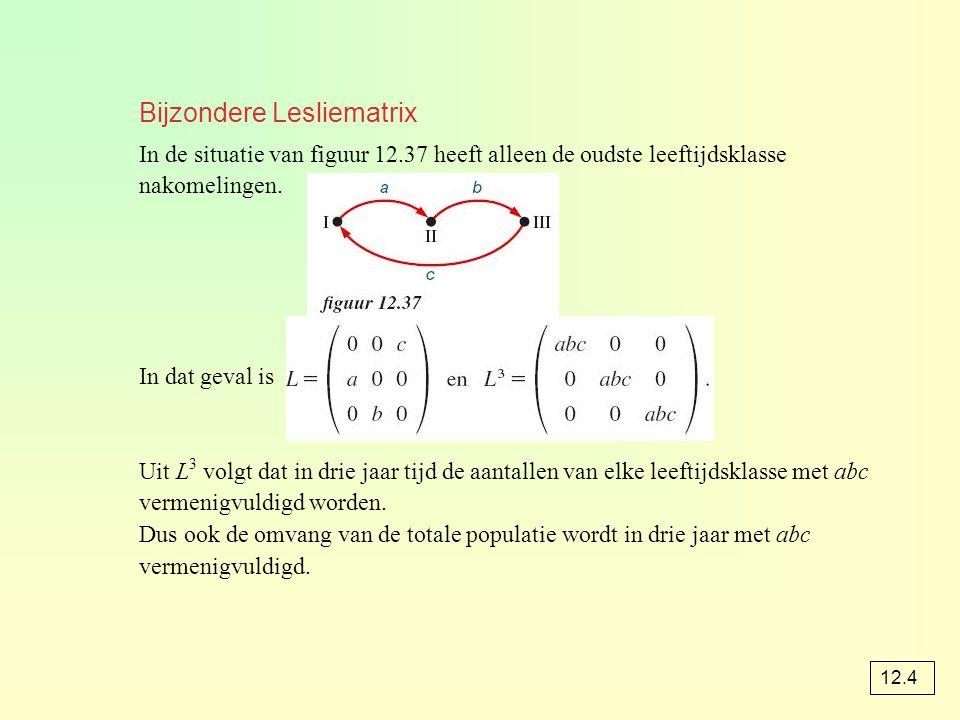 Bijzondere Lesliematrix In de situatie van figuur 12.37 heeft alleen de oudste leeftijdsklasse nakomelingen. In dat geval is Uit L 3 volgt dat in drie