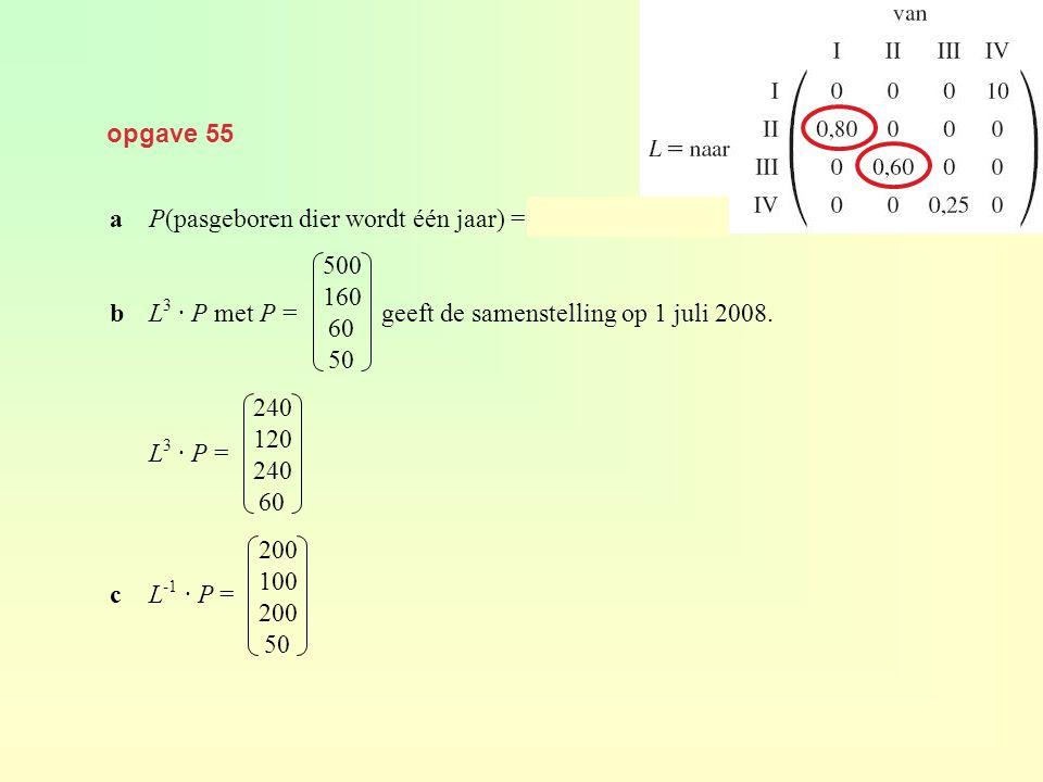 opgave 55 aP(pasgeboren dier wordt één jaar) = 0,80 · 0,60 = 0,48 bL 3 · P met P = geeft de samenstelling op 1 juli 2008. L 3 · P = cL -1 · P = 500 16