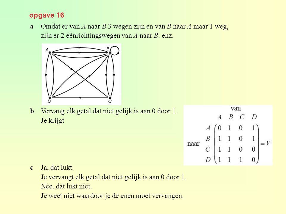 opgave 16 aOmdat er van A naar B 3 wegen zijn en van B naar A maar 1 weg, zijn er 2 éénrichtingswegen van A naar B. enz. bVervang elk getal dat niet g