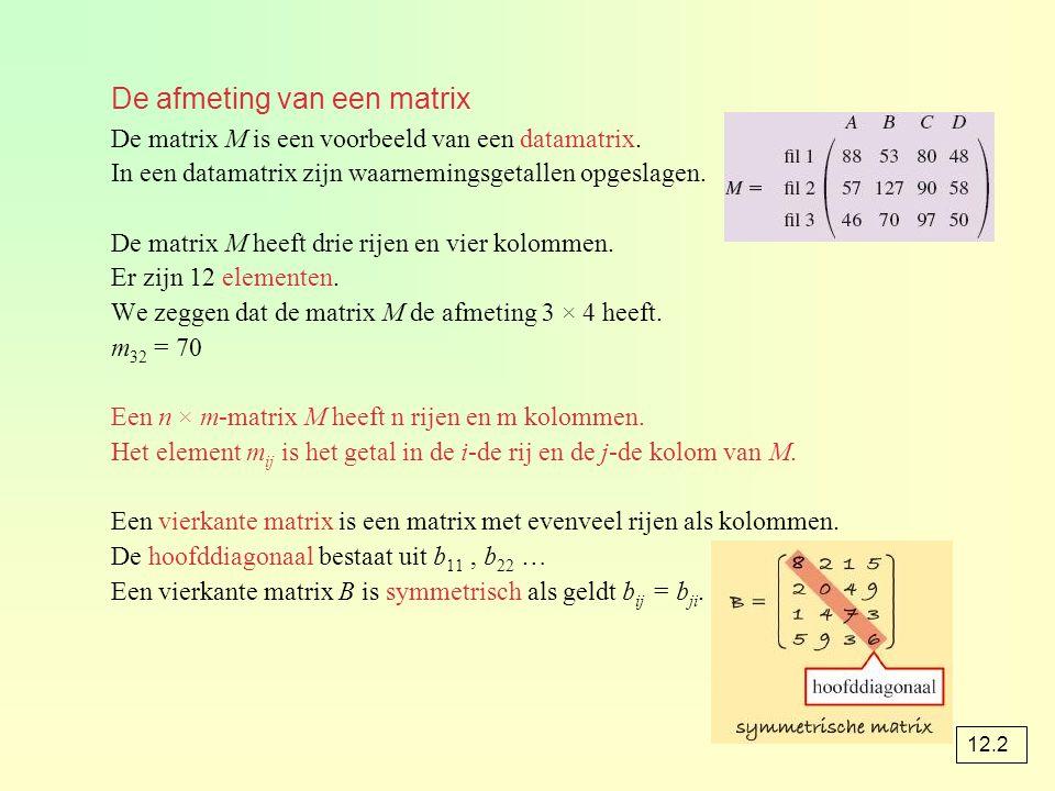 De afmeting van een matrix De matrix M is een voorbeeld van een datamatrix. In een datamatrix zijn waarnemingsgetallen opgeslagen. De matrix M heeft d