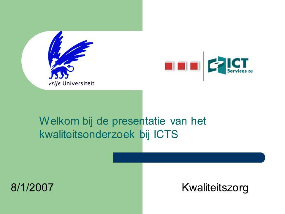 Welkom bij de presentatie van het kwaliteitsonderzoek bij ICTS 8/1/2007Kwaliteitszorg