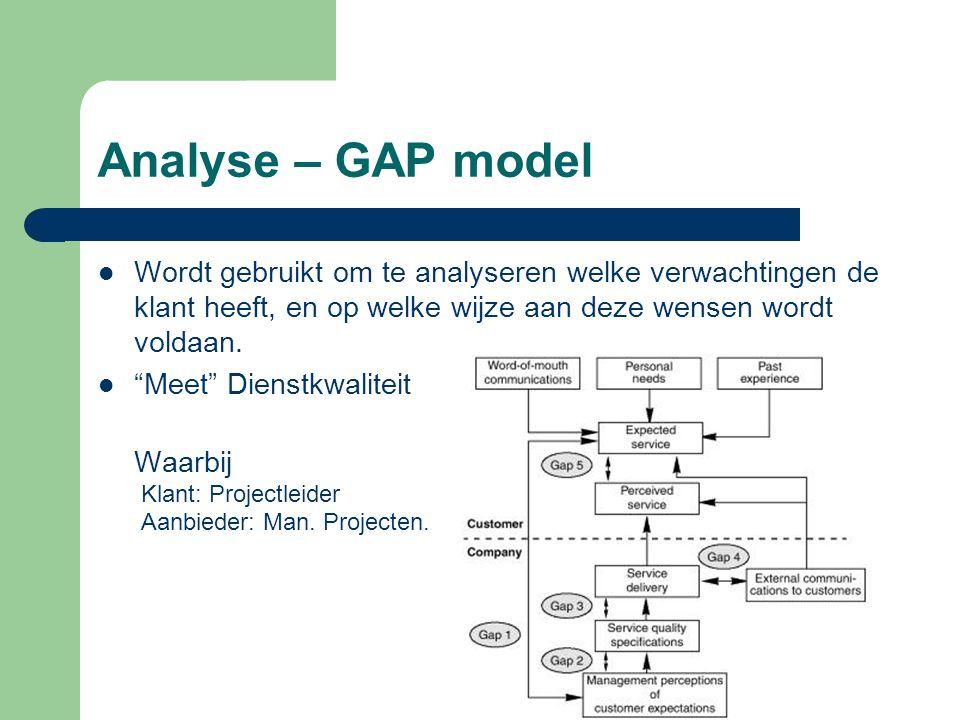 """Analyse – GAP model Wordt gebruikt om te analyseren welke verwachtingen de klant heeft, en op welke wijze aan deze wensen wordt voldaan. """"Meet"""" Dienst"""