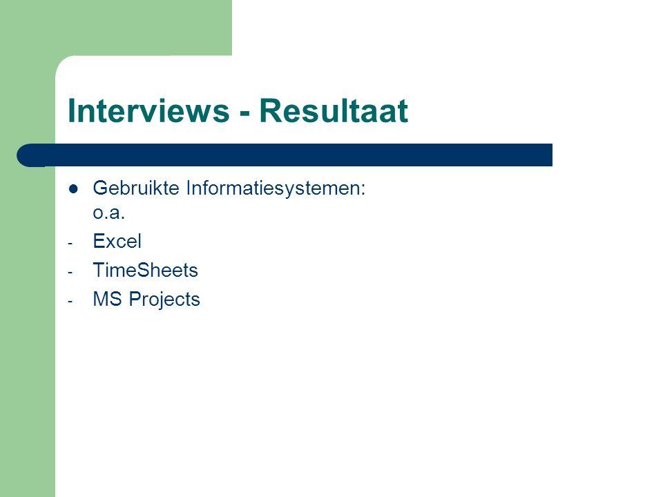 Interviews - Resultaat Gebruikte Informatiesystemen: o.a. - Excel - TimeSheets - MS Projects