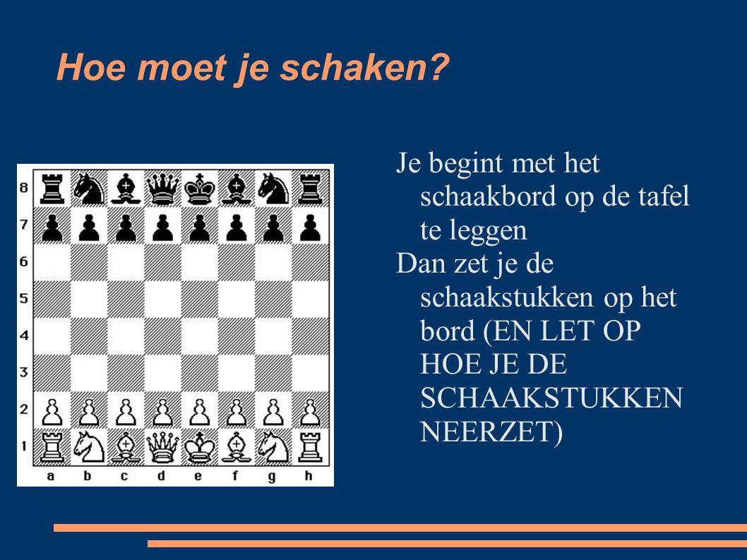 Hoe moet je schaken? Je begint met het schaakbord op de tafel te leggen Dan zet je de schaakstukken op het bord (EN LET OP HOE JE DE SCHAAKSTUKKEN NEE