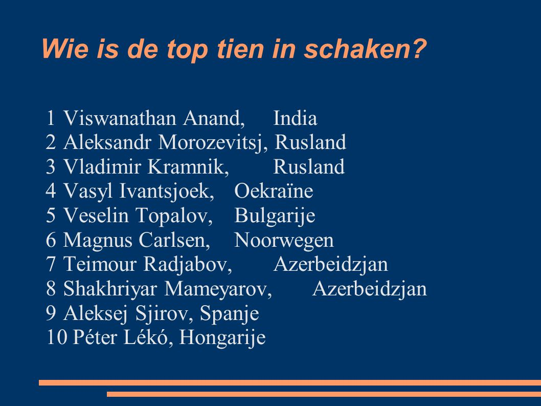 Wie is de top tien in schaken? 1 Viswanathan Anand, India 2 Aleksandr Morozevitsj, Rusland 3 Vladimir Kramnik, Rusland 4 Vasyl Ivantsjoek, Oekraïne 5