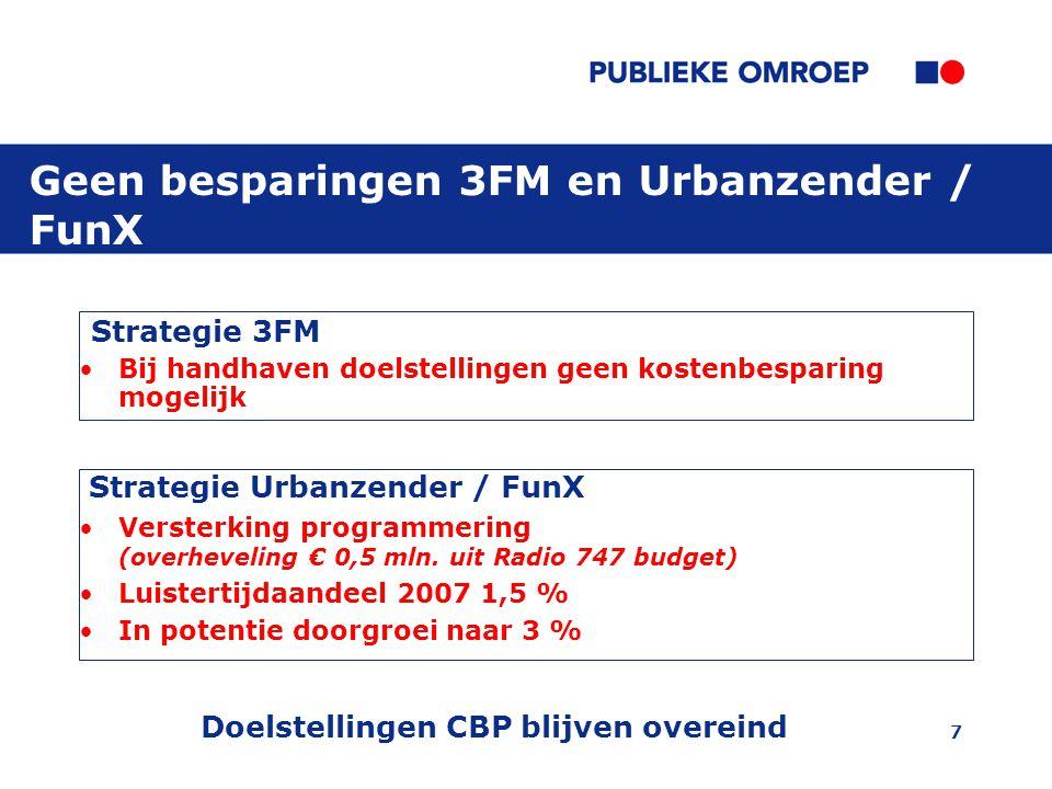 7 Geen besparingen 3FM en Urbanzender / FunX Strategie 3FM Bij handhaven doelstellingen geen kostenbesparing mogelijk Strategie Urbanzender / FunX Versterking programmering (overheveling € 0,5 mln.