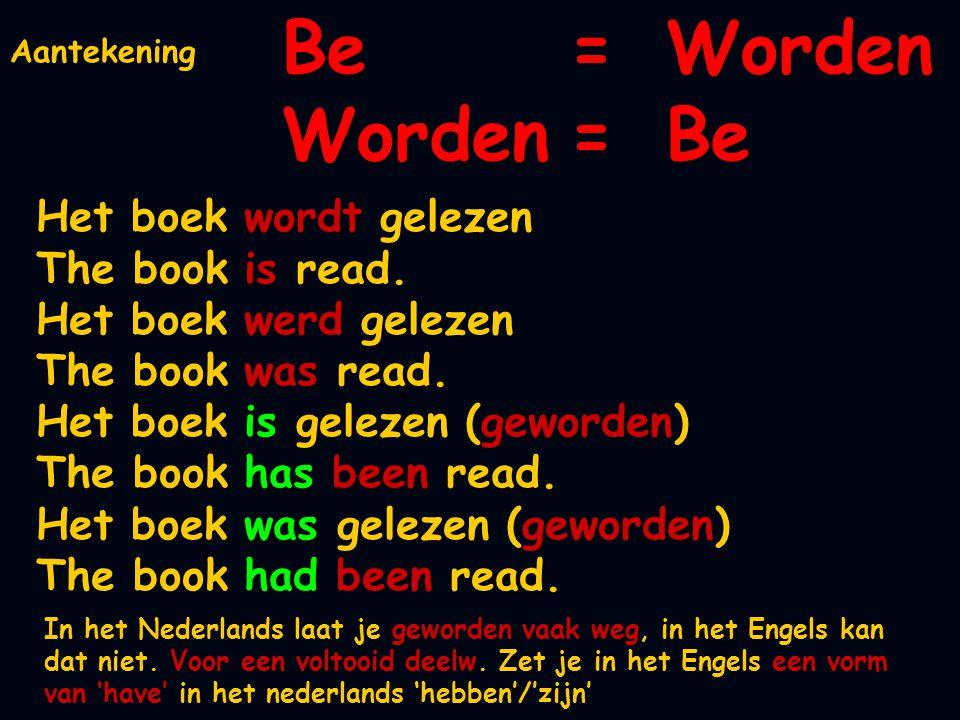 Be=Worden Worden=Be Het boek wordt gelezen The book is read. Het boek werd gelezen The book was read. Het boek is gelezen (geworden) The book has been