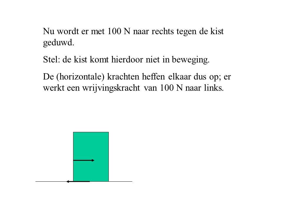 Nu wordt er met 100 N naar rechts tegen de kist geduwd. Stel: de kist komt hierdoor niet in beweging. De (horizontale) krachten heffen elkaar dus op;