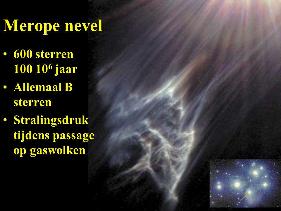 Merope nevel 600 sterren 100 10 6 jaar Allemaal B sterren Stralingsdruk tijdens passage op gaswolken