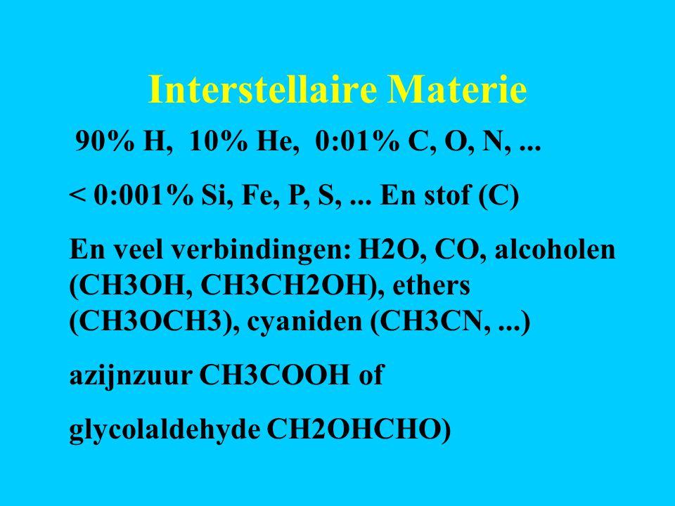 Interstellaire Materie Aminozuren kunnen voorkomen (Leiden 2002) R is zijtak R=H Glycine