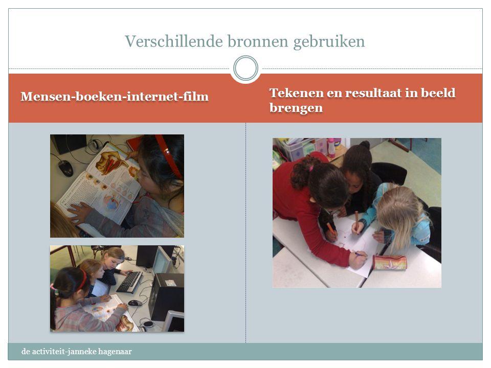 Tekenen en resultaat in beeld brengen Mensen-boeken-internet-film Verschillende bronnen gebruiken de activiteit-janneke hagenaar
