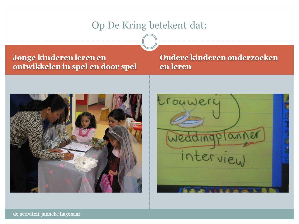 Jonge kinderen leren en ontwikkelen in spel en door spel Oudere kinderen onderzoeken en leren Op De Kring betekent dat: de activiteit-janneke hagenaar