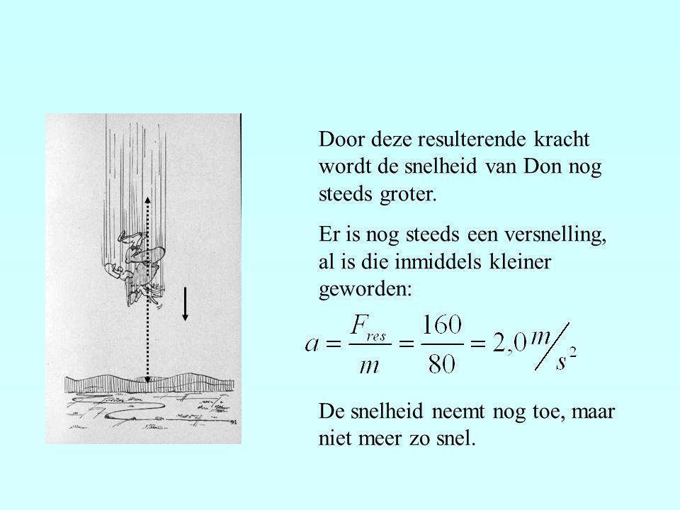 Op zeker moment is de snelheid van Don zo groot geworden, dat de wrijvingskracht 800 N is.
