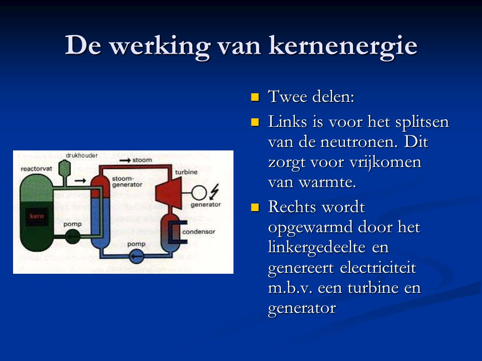 De werking van kernenergie Twee delen: Links is voor het splitsen van de neutronen. Dit zorgt voor vrijkomen van warmte. Rechts wordt opgewarmd door h