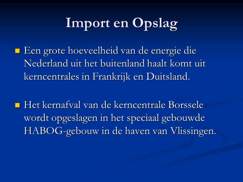 Import en Opslag Een grote hoeveelheid van de energie die Nederland uit het buitenland haalt komt uit kerncentrales in Frankrijk en Duitsland. Een gro